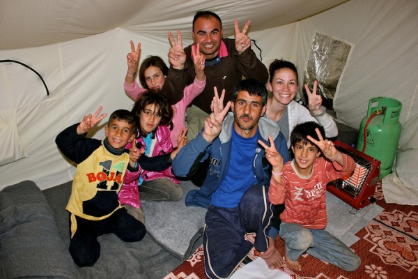 Family in  Zaatari refugee camp.