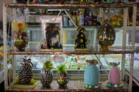Rows of Easter eggs in a Beirut shop.