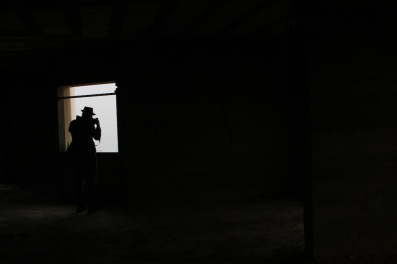 Capturing the scene from inside an abandoned tier of a building in Beirut.