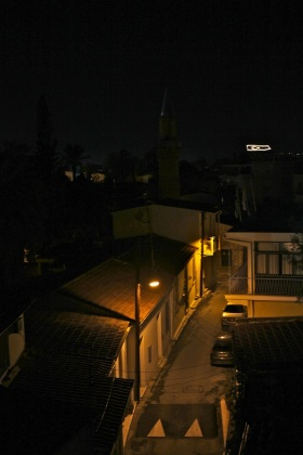 Every night, the Turkish flag flashes repeatedly from the mountainside facing Nicosia in the Turkish-occupied part of Cyprus. This is the view from Nicosia, Cyprus.