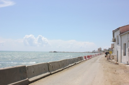 The road from our hotel to the city center in Larnaca.
