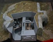 A model of the inside of a World War II bunker.