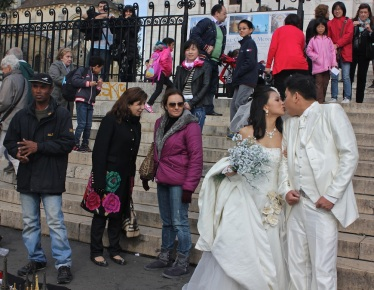 A wedding outside the Basilica of the Sacré Cœur in Montmartre.