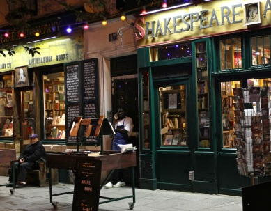 The famous Shakespeare and Company bookstore that was an important part of writing and artist culture in Paris for decades. It was also a spot for writers such as Ernest Hemingway in the 1920s.