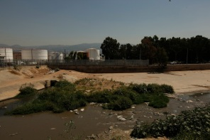 The foul banks of the polluted Beirut River.