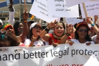 Migrant workers protest for better rights and protection in Beirut, Lebanon.