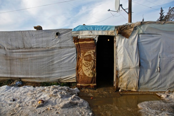 A home for a Syrian family in an informal settlement in Al Marj, Bekaa Valley, Lebanon.